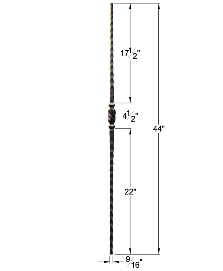 "HF2.9.12: Tuscan 9⁄16"" Hand Hammered Solid Square Iron Tapered Knuckle Baluster Dimensions"