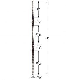 "HF2.9.13: Tuscan 9⁄16"" Hand Hammered Solid Square Iron Tapered Double Knuckle Baluster Dimensions"