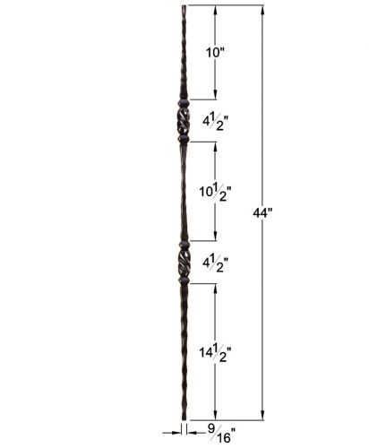 """HF2.9.13: Tuscan 9⁄16"""" Hand Hammered Solid Square Iron Tapered Double Knuckle Baluster Dimensions"""