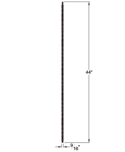 "HF2.9.20-T: Tuscan 9⁄16"" Hand Hammered Hollow Square Iron Baluster Dimensions"