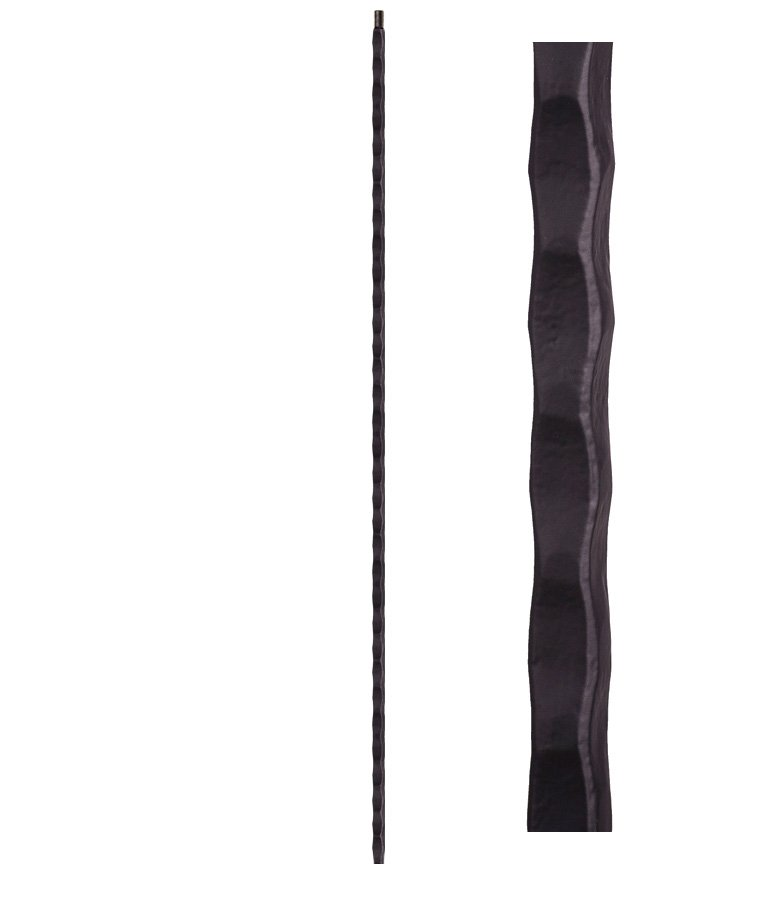"""HF2.9.20-T: Tuscan 9⁄16"""" Hand Hammered Hollow Square Iron Baluster"""