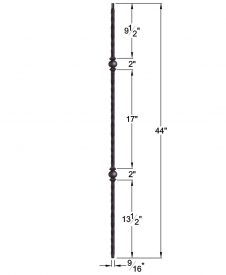 "HF2.9.26: Tuscan 9⁄16"" Hand Hammered Solid Square Iron Double Knuckle Baluster Dimensions"