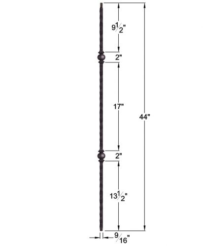 "HF2.9.26-T: Tuscan 9⁄16"" Hand Hammered Hollow Square Iron Double Knuckle Baluster Dimensions"