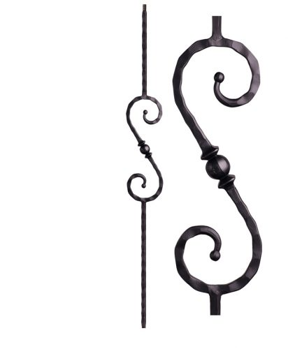 "HF2.9.27: Tuscan 9⁄16"" Hand Hammered Solid Square Iron Knuckle Scroll Baluster"