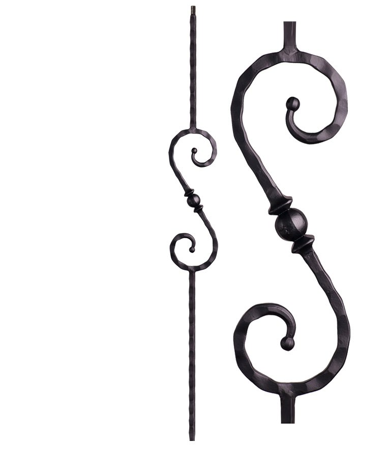 """HF2.9.27: Tuscan 9⁄16"""" Hand Hammered Solid Square Iron Knuckle Scroll Baluster"""