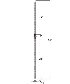 "HF2.9.28: Tuscan 9⁄16"" Hand Hammered Solid Square Iron Knuckle Baluster Dimensions"