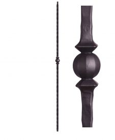 "HF2.9.28: Tuscan 9⁄16"" Hand Hammered Solid Square Iron Knuckle Baluster"