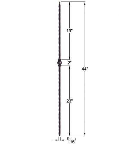 """HF2.9.28-T: Tuscan 9⁄16"""" Hand Hammered Hollow Square Iron Knuckle Baluster Dimensions"""