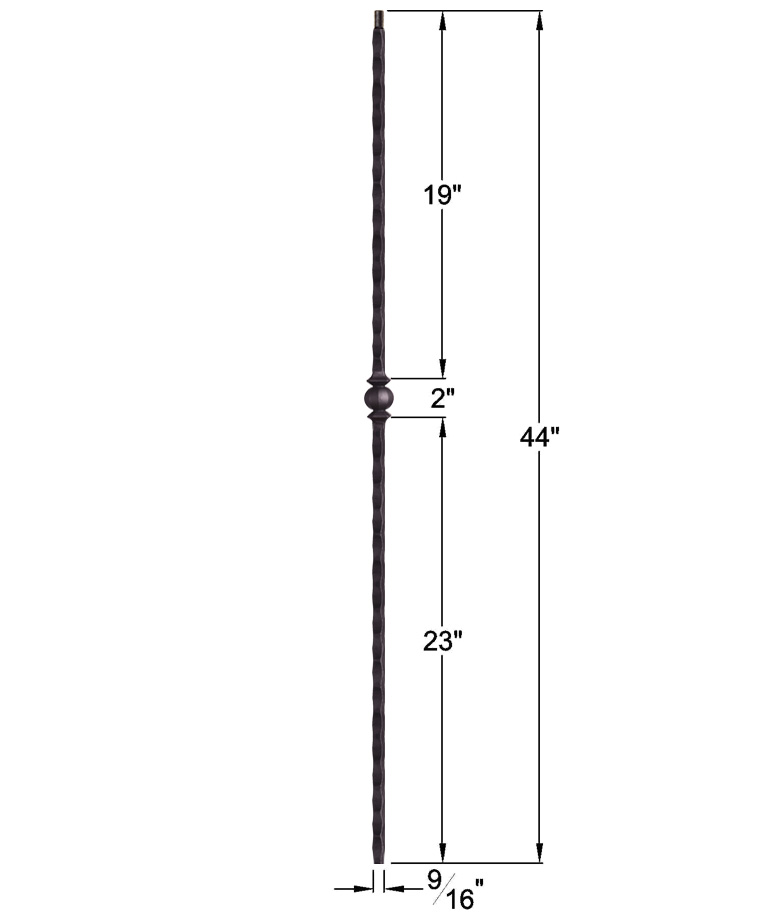 "HF2.9.28-T: Tuscan 9⁄16"" Hand Hammered Hollow Square Iron Knuckle Baluster Dimensions"