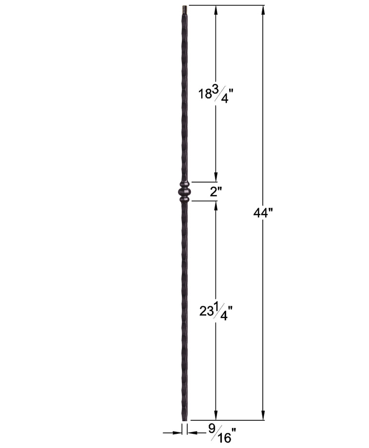 "HF2.9.29: Tuscan 9⁄16"" Hand Hammered Solid Square Iron Knuckle Baluster Dimensions"