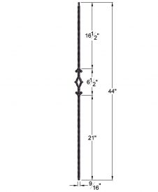 "HF2.9.3: Tuscan 9⁄16"" Hand Hammered Solid Square Iron Diamond Baluster Dimensions"
