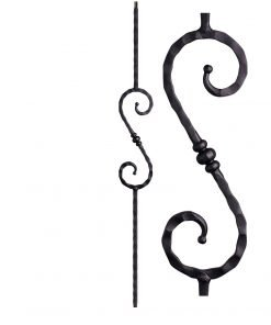 "HF2.9.36: Tuscan 9⁄16"" Hand Hammered Solid Square Iron Knuckle Scroll Baluster"