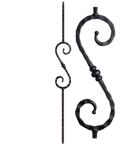 """HF2.9.36: Tuscan 9⁄16"""" Hand Hammered Solid Square Iron Knuckle Scroll Baluster"""