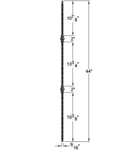 "HF2.9.37: Tuscan 9⁄16"" Hand Hammered Solid Square Iron Double Knuckle Baluster Dimensions"