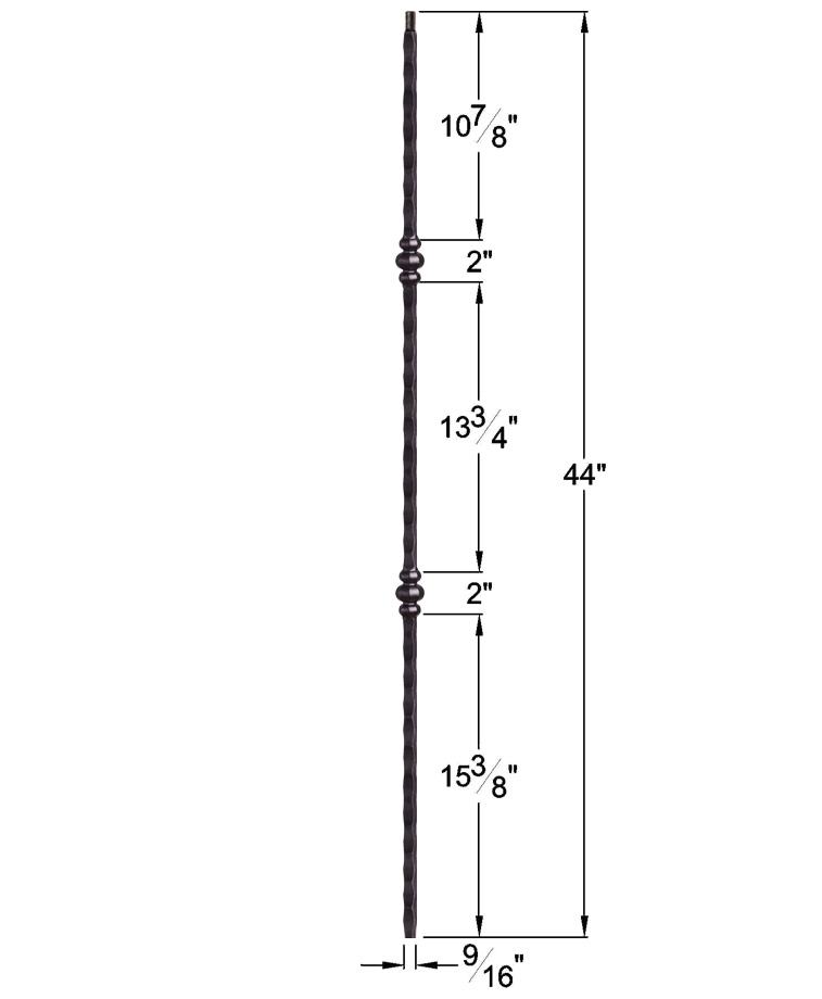 """HF2.9.37: Tuscan 9⁄16"""" Hand Hammered Solid Square Iron Double Knuckle Baluster Dimensions"""