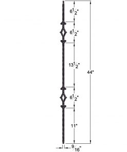 "HF2.9.4: Tuscan 9⁄16"" Hand Hammered Solid Square Iron Double Diamond Baluster Dimensions"