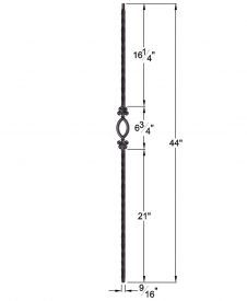 """HF2.9.5: Tuscan 9⁄16"""" Hand Hammered Solid Square Iron Elliptical Baluster Dimensions"""