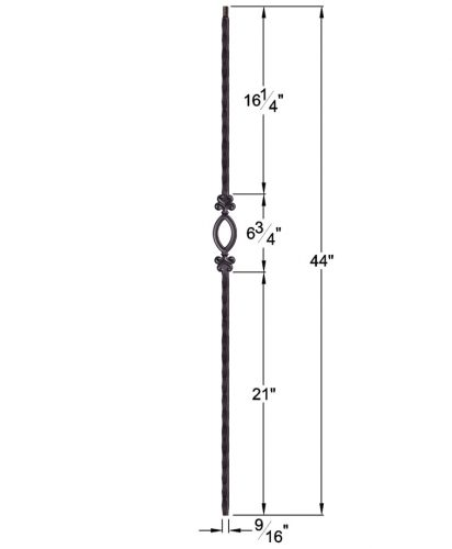 "HF2.9.5: Tuscan 9⁄16"" Hand Hammered Solid Square Iron Elliptical Baluster Dimensions"