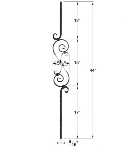 "HF2.9.8: Tuscan 9⁄16"" Hand Hammered Solid Square Iron Scroll Baluster Dimensions"