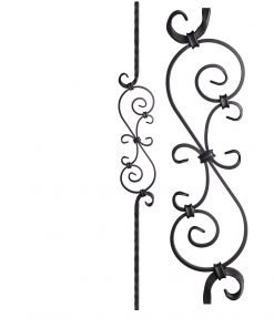 "HF2.9.8: Tuscan 9⁄16"" Hand Hammered Solid Square Iron Scroll Baluster"