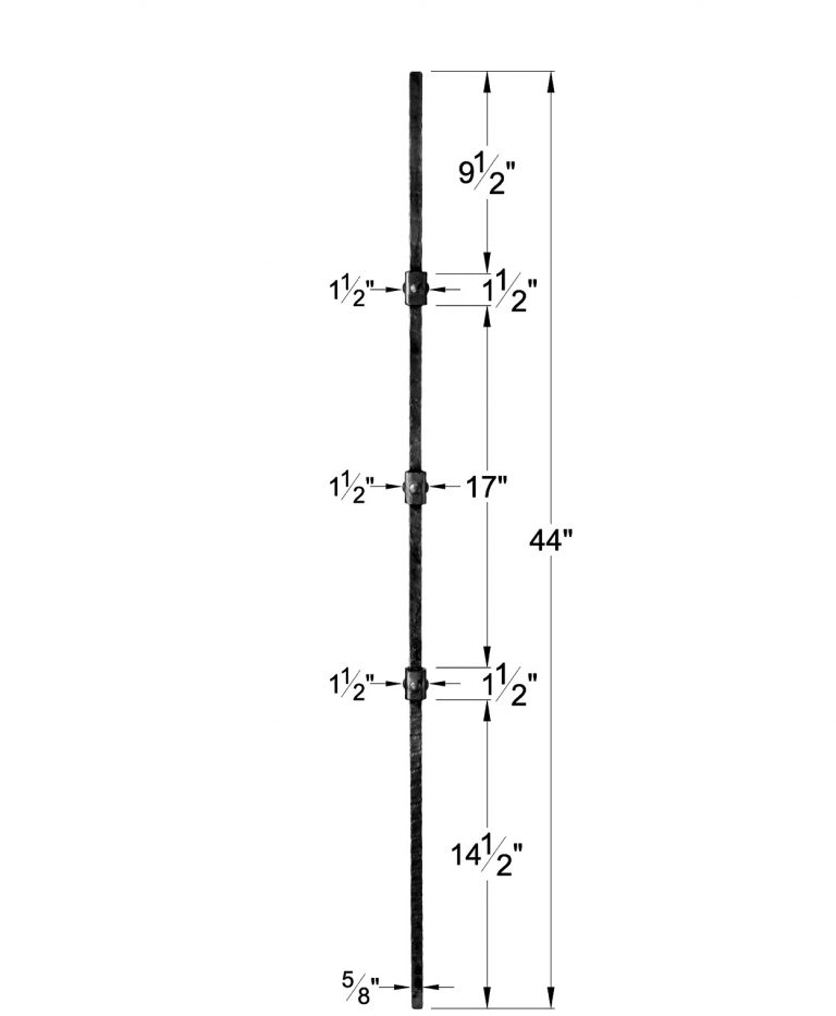"""HF3.2.2: Wentworth 5/8"""" Rustic Hammered Solid Square Triple Knuckle Iron Baluster Dimensions"""