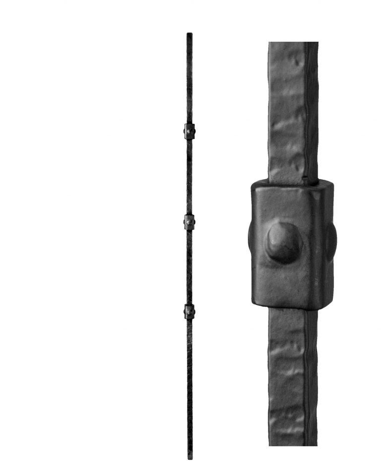 """HF3.2.2: Wentworth 5/8"""" Rustic Hammered Solid Square Triple Knuckle Iron Baluster"""