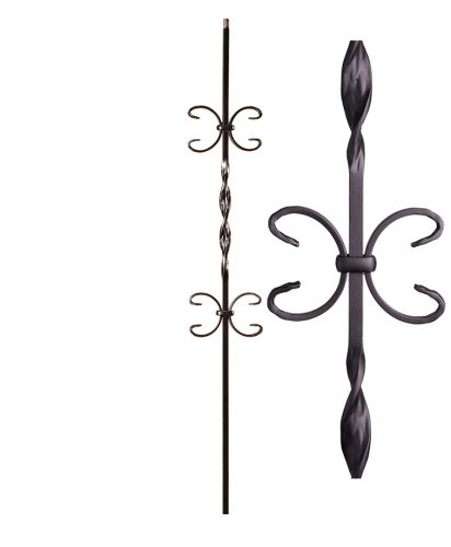 "HF16.1.11: Ribbon Series 1/2"" Solid Square Iron Ribbon Twist and Double Butterfly Scroll Baluster"