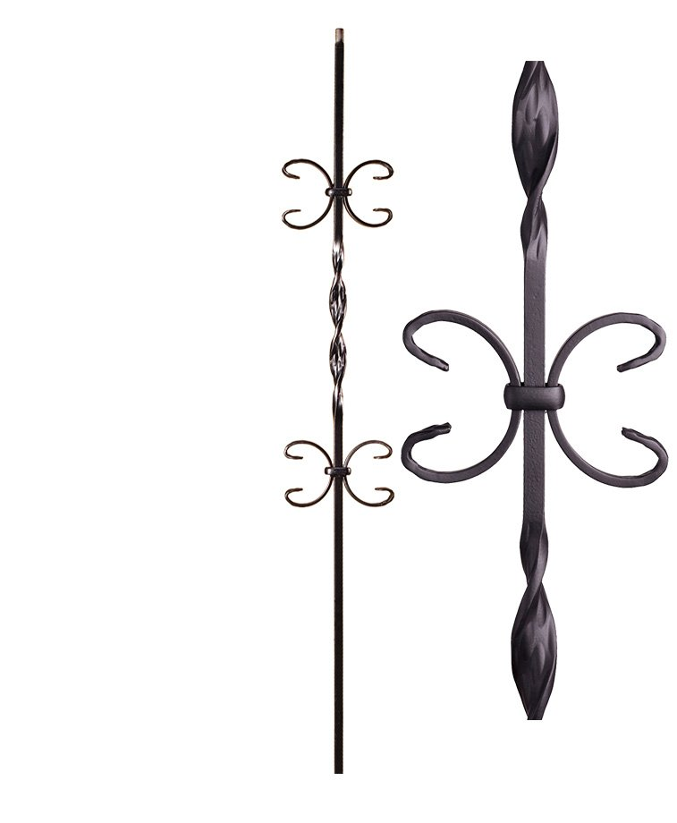 """HF16.1.11: Ribbon Series 1/2"""" Solid Square Iron Ribbon Twist and Double Butterfly Scroll Baluster"""