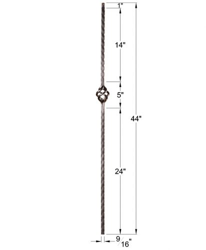 """HFSTB16.1.15: Santa Fe 9/16"""" Solid Square Edge Hammered Iron Basket Baluster Dimensions"""