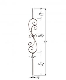 "HF16.1.25: Versatile Series 1/2"" Solid Square Iron Large Scroll Baluster Dimensions"