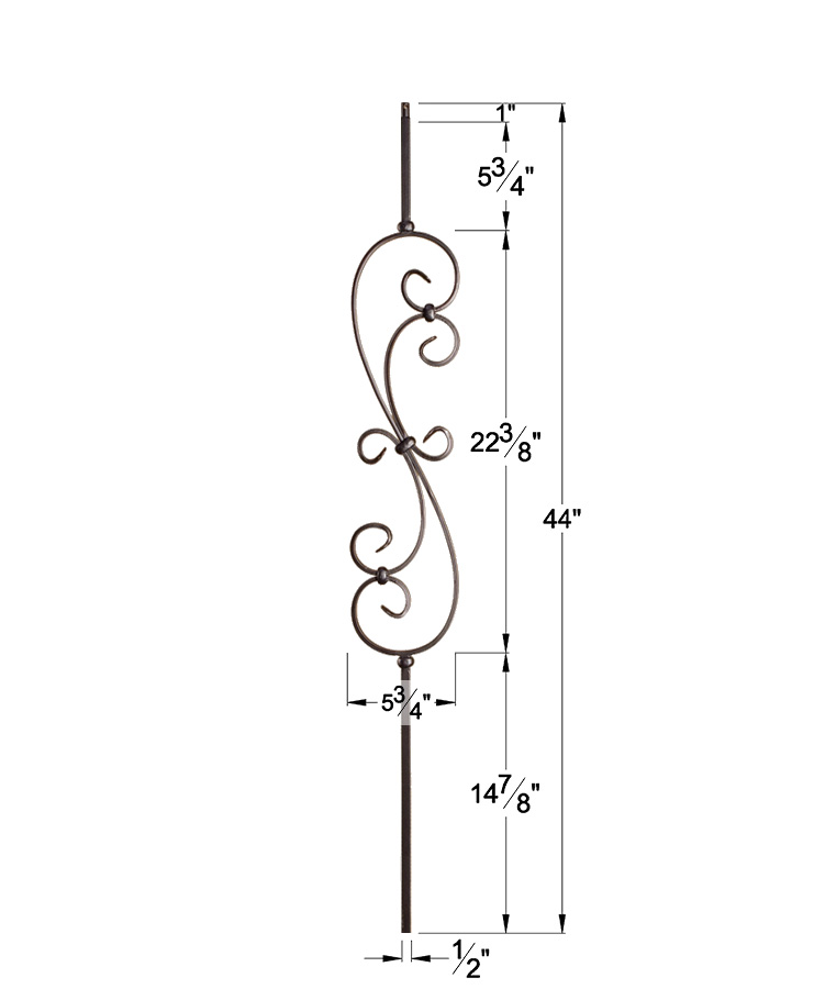 """HF16.1.25: Versatile Series 1/2"""" Solid Square Iron Large Scroll Baluster Dimensions"""