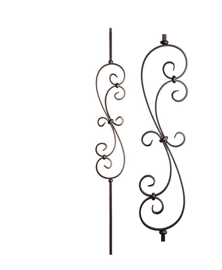 """HF16.1.25: Versatile Series 1/2"""" Solid Square Iron Large Scroll Baluster"""