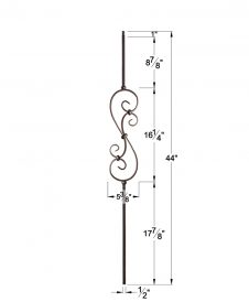 "HF16.1.25-S: Versatile Series 1/2"" Solid Square Iron Small Scroll Baluster Dimensions"