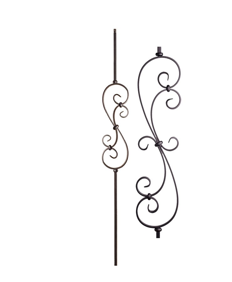 """HF16.1.25-S: Versatile Series 1/2"""" Solid Square Iron Small Scroll Baluster"""