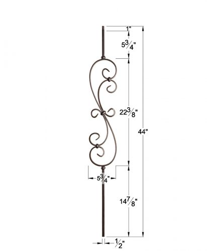 "HF16.1.25-T: Versatile Series 1/2"" Hollow Square Iron Large Scroll Baluster Dimensions"