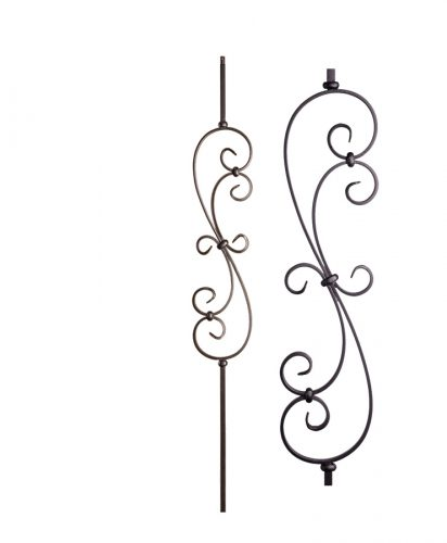 "HF16.1.25-T: Versatile Series 1/2"" Hollow Square Iron Large Scroll Baluster"