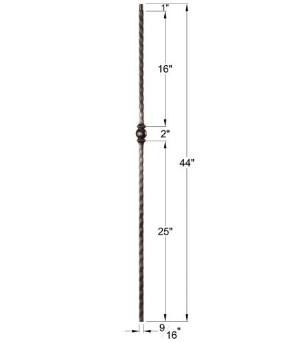 """HFSTB16.1.26: Santa Fe 9/16"""" Solid Square Edge Hammered Iron Knuckle Baluster Dimensions"""
