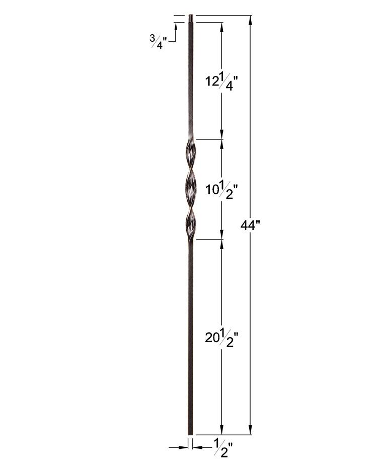 "HF16.1.5: Ribbon Series 1/2"" Solid Square Iron Ribbon Twist Baluster Dimensions"