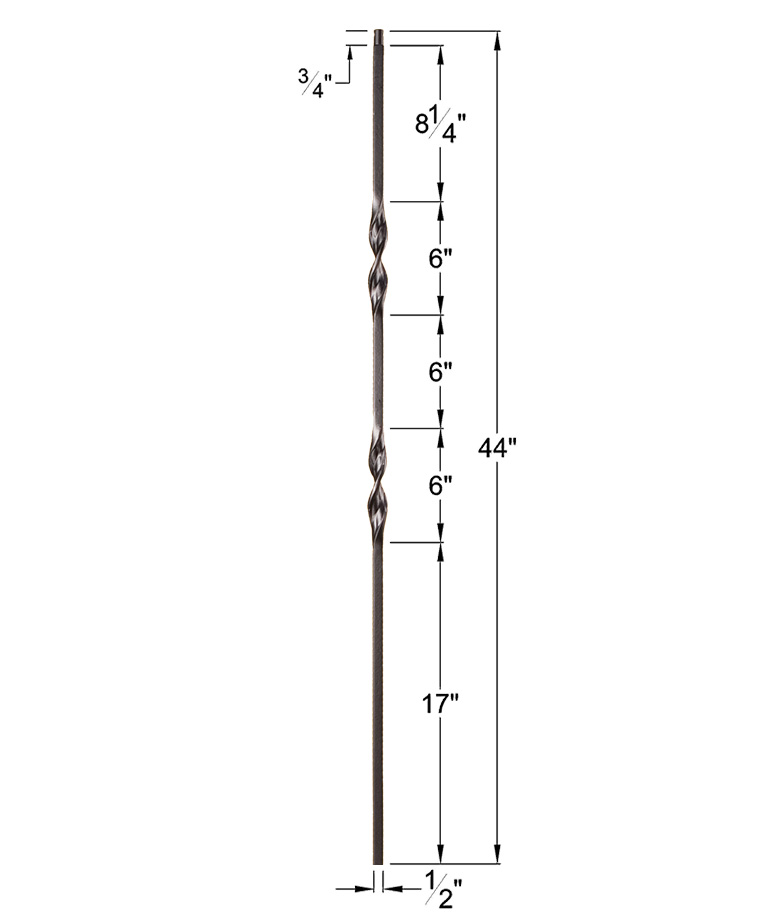 """HF16.1.6: Ribbon Series 1/2"""" Solid Square Iron Double Ribbon Twist Baluster Dimensions"""