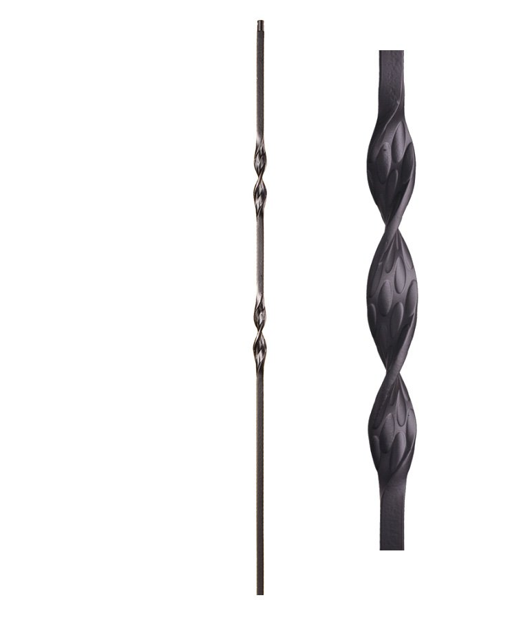 """HF16.1.6: Ribbon Series 1/2"""" Solid Square Iron Double Ribbon Twist Baluster"""