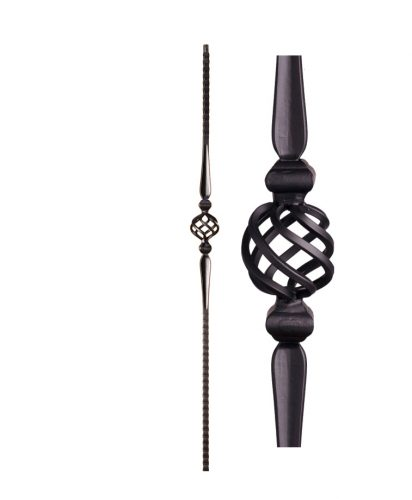 """HF16.1.9: Gothic 9/16"""" Solid Square Face Hammered Iron Knuckle and Basket Baluster"""