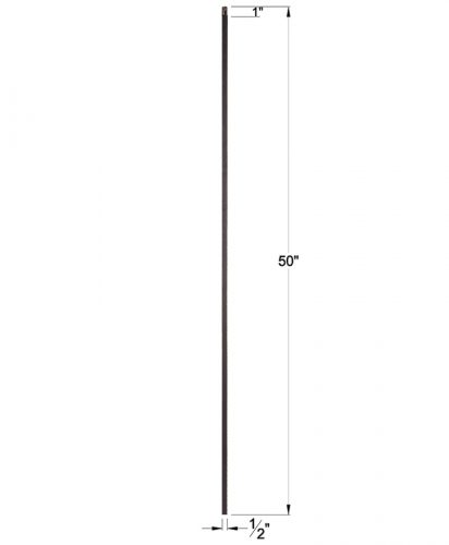 """HFSTB16.2.1-50: Versatile Series 1/2"""" Solid Square Iron Baluster Dimensions"""