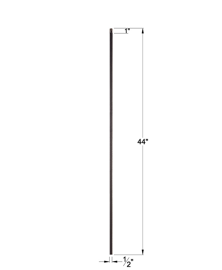 """HF16.2.1: 1/2"""" Solid Square Iron Baluster Dimensions"""