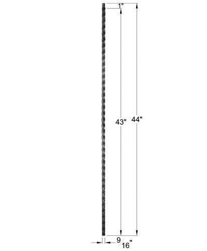 """HFSTB16.3.8: Santa Fe 9/16"""" Solid Square Edge Hammered Iron Baluster Dimensions"""