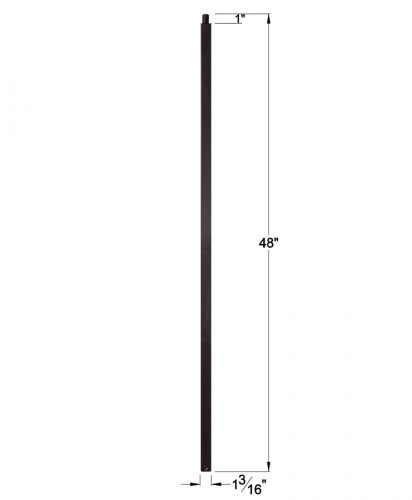 """HF16.5.8-T: 1 3/16"""" Hollow Square Iron Newel Dimensions"""