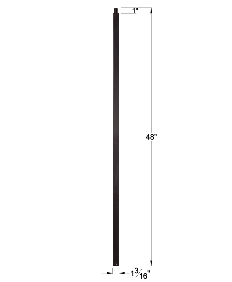 "HF16.5.8-T: 1 3/16"" Hollow Square Iron Newel Dimensions"