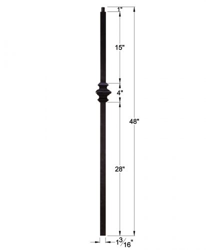 """HF16.5.9: Versatile Series 1 3/16"""" Solid Square Iron Knuckle Newel Dimensions"""