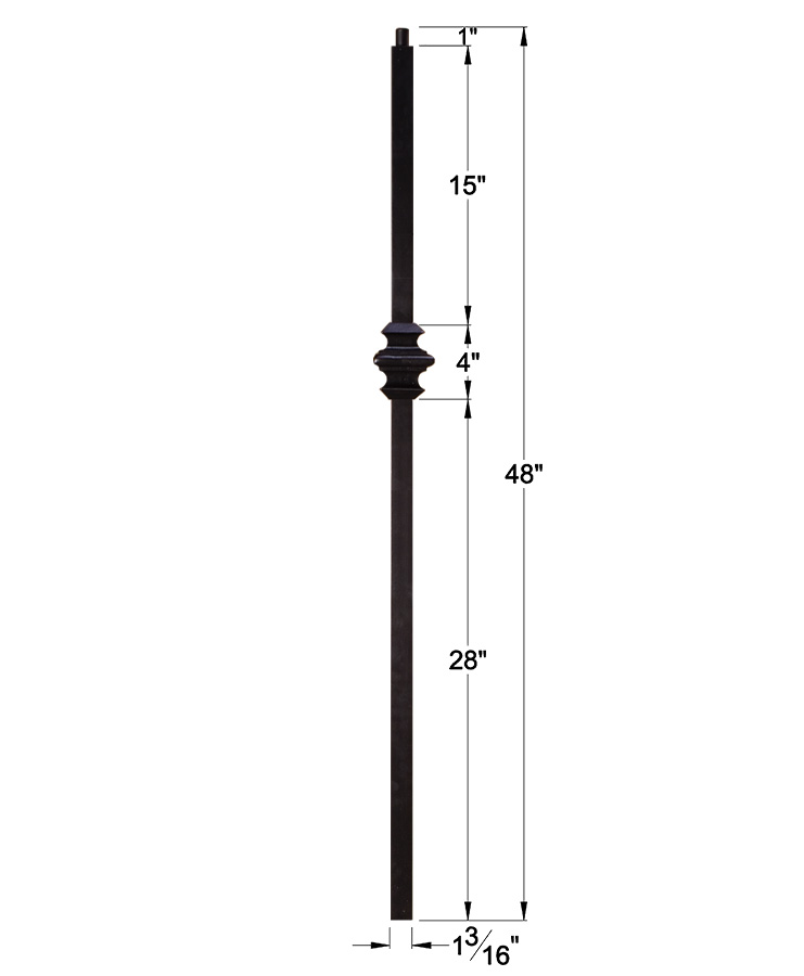 "HF16.5.9: Versatile Series 1 3/16"" Solid Square Iron Knuckle Newel Dimensions"