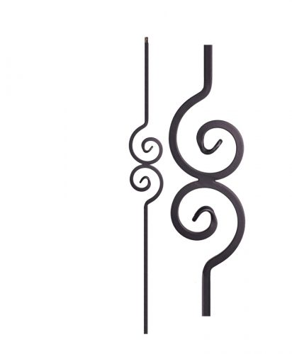 "HF2.10.1: Versatile Series 1/2"" Solid Square Iron Modern Scroll Baluster"