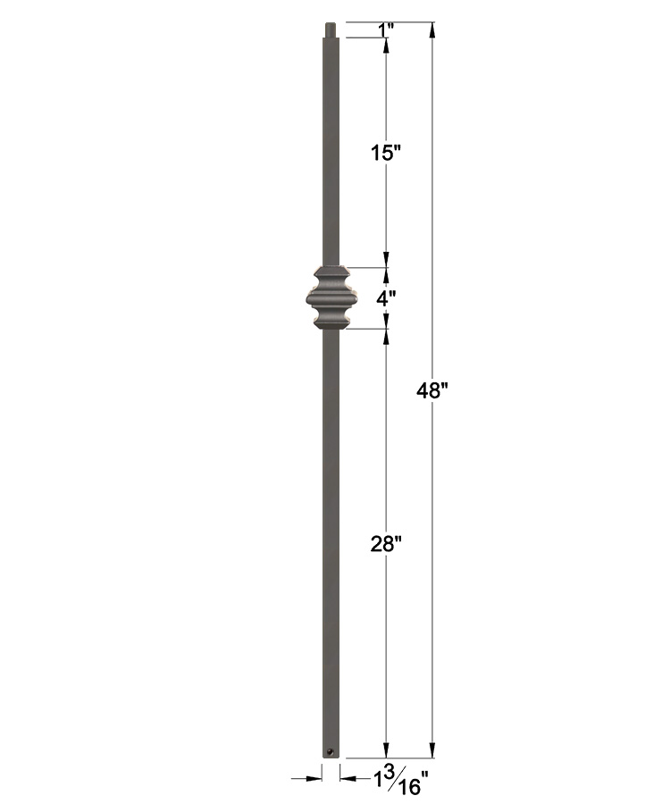 "HFAG16.5.9-T: Versatile Series 1 3/16"" Hollow Square Iron Knuckle Newel (Ash Grey) Dimensions"